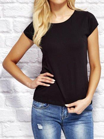 T-shirt damski z surowym wykończeniem czarny