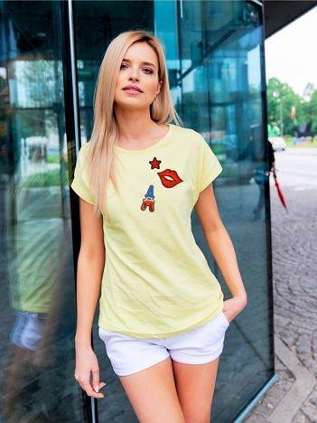 T-shirt damski żółty z cekinowymi naszywkami EIFFEL