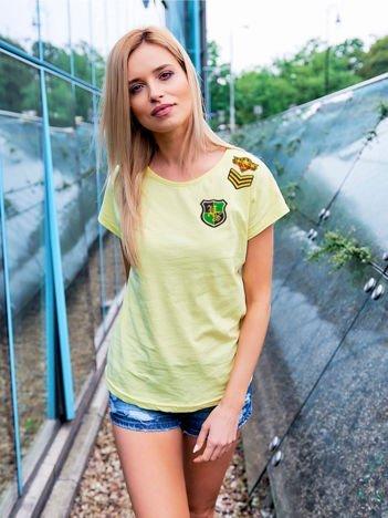 T-shirt damski żółty z naszywkami ARMY