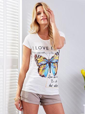 T-shirt ecru z motylem