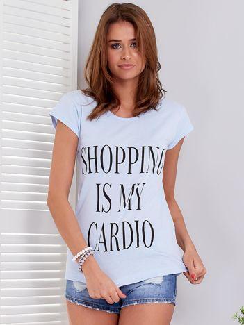 T-shirt jasnoniebieski SHOPPING IS MY CARDIO