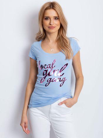 T-shirt jasnoniebieski z napisem