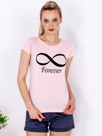 T-shirt jasnoróżowy ze znakiem nieskończoności