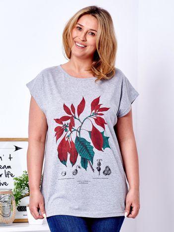 T-shirt jasnoszary z roślinnym printem PLUS SIZE