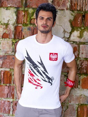 T-shirt męski biały z orłem