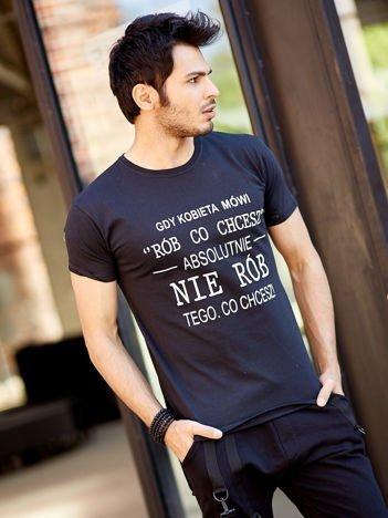 T-shirt męski czarny GDY KOBIETA MÓWI