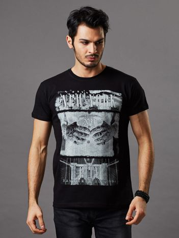 T-shirt męski czarny New York