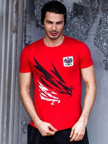 T-shirt męski czerwony z orłem