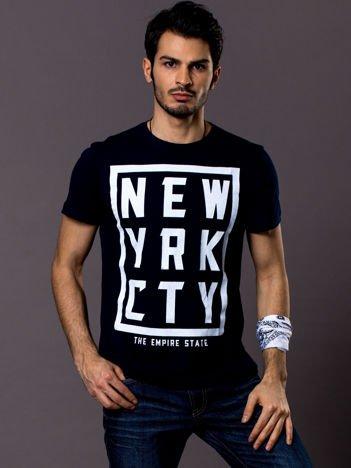 T-shirt męski granatowy New York City