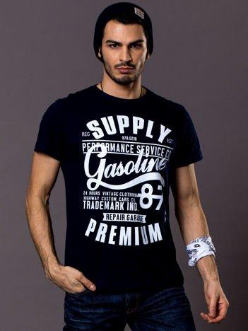 T-shirt męski granatowy z nadrukiem vintage