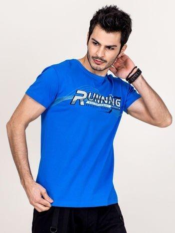 T-shirt męski niebieski Running