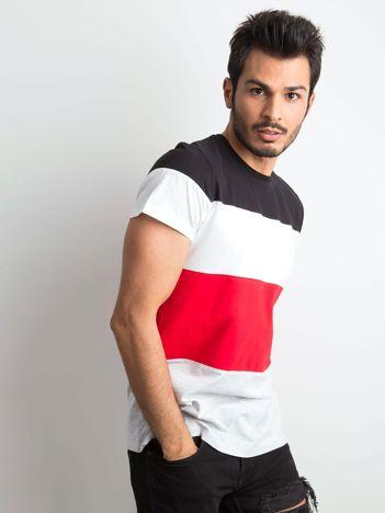 T-shirt męski w szerokie pasy czarny