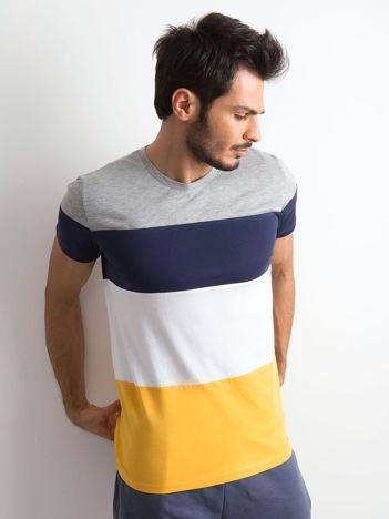 T-shirt męski w szerokie pasy szary
