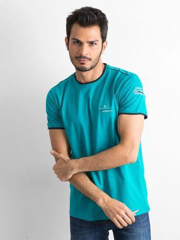T-shirt męski z bawełny zielony