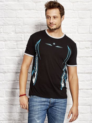 T-shirt męski z modelującym nadrukiem czarny