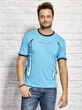 T-shirt męski z modelującym nadrukiem jasnoniebieski