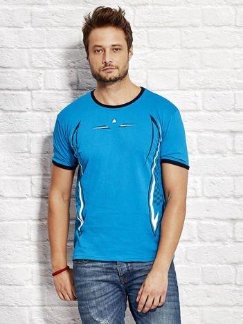 T-shirt męski z modelującym nadrukiem morski
