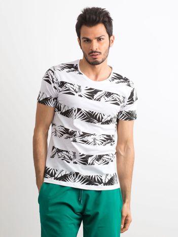 T-shirt męski z nadrukiem roślinnym biało-czarny