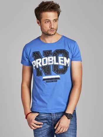 T-shirt męski z napisem NO PROBLEM ciemnoniebieski