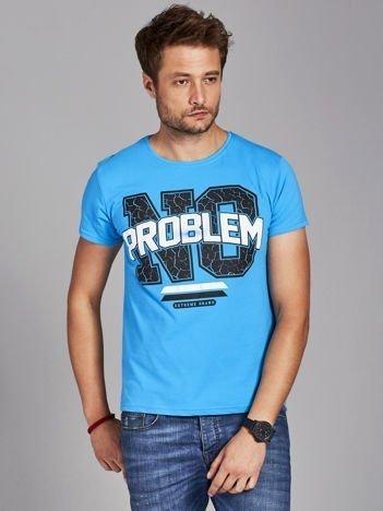 T-shirt męski z napisem NO PROBLEM niebieski