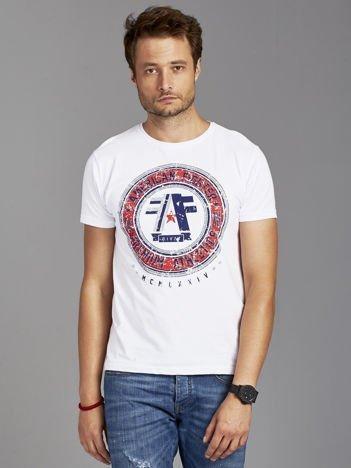 T-shirt męski z okrągłym nadrukiem biały