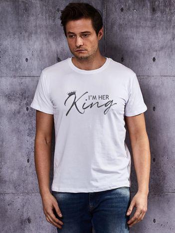 T-shirt męski z tekstem I'M HER KING dla par biały