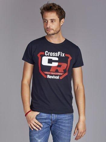 T-shirt męski ze sportowym nadrukiem granatowy