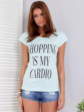 T-shirt miętowy SHOPPING IS MY CARDIO