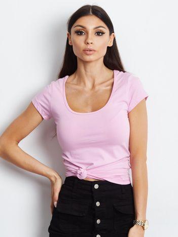 T-shirt różowy z wycięciami z tyłu