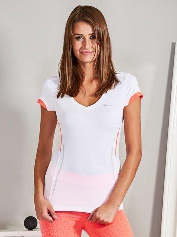 T-shirt sportowy z dekoltem V-neck biało-koralowy