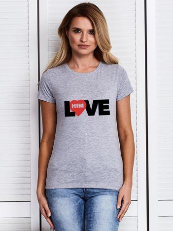 T-shirt szary damski dla zakochanych par LOVE HIM