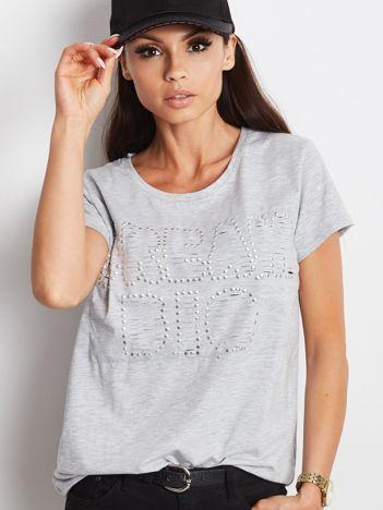 T-shirt szary z napisem cut out