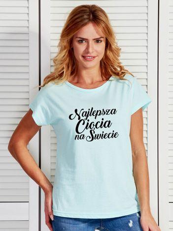 T-shirt turkusowy NAJLEPSZA CIOCIA NA ŚWIECIE