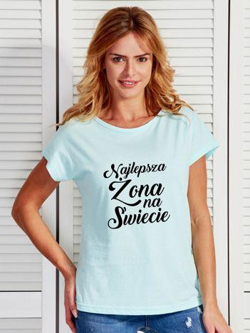 T-shirt turkusowy NAJLEPSZA ŻONA NA ŚWIECIE