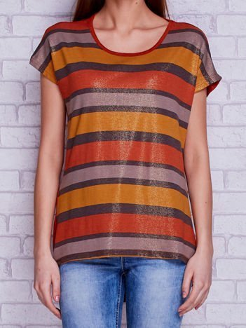 T-shirt w paski z brokatowym połyskiem ciemnopomarańczowy