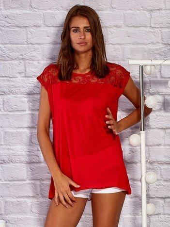 T-shirt z ażurową górą czerwony