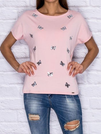 5da519c85f6bff Różowy ażurowy t-shirt z koronką - T-shirt jednokolorowy - sklep ...