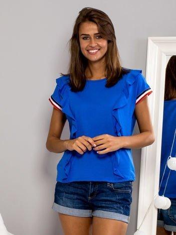 T-shirt z falbankami i ozdobną lamówką niebieski