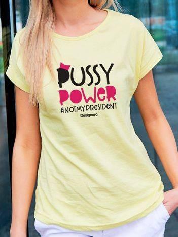 T-shirt z młodzieżowym nadrukiem żółty