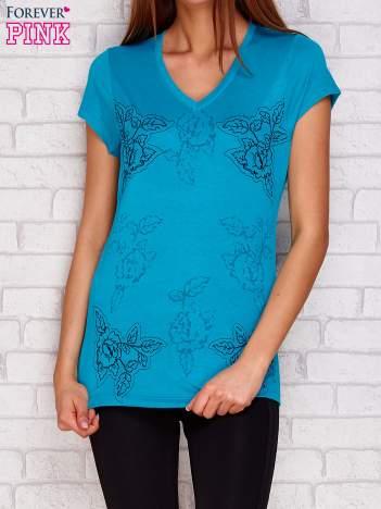 T-shirt z motywem roślinnym ciemnozielony