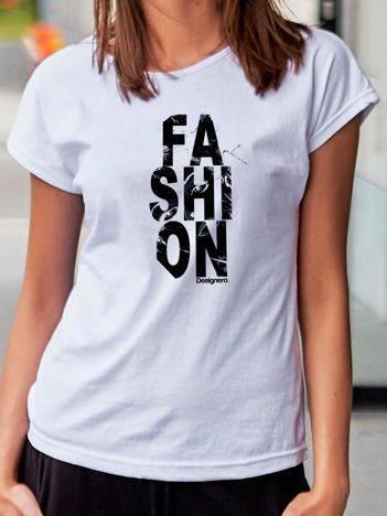 T-shirt z nadrukiem FASHION biały