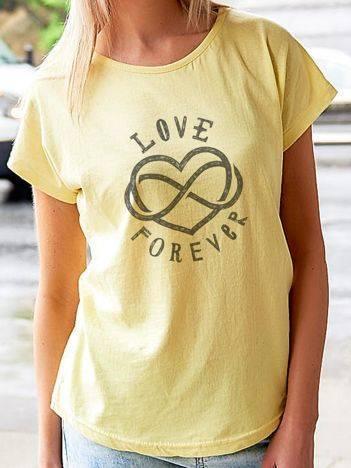 T-shirt z nadrukiem LOVE FOREVER żółty