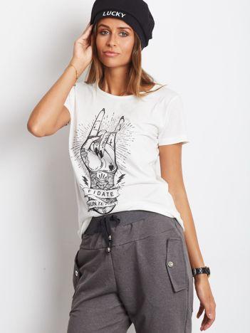 T-shirt z nadrukiem ecru