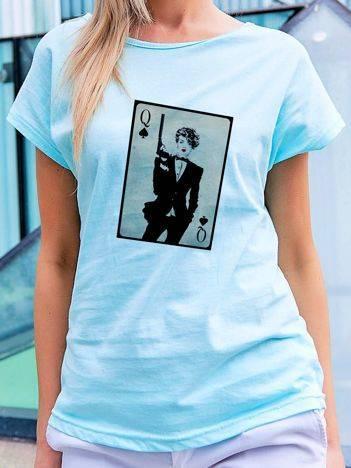 T-shirt z nadrukiem kobiety turkusowy