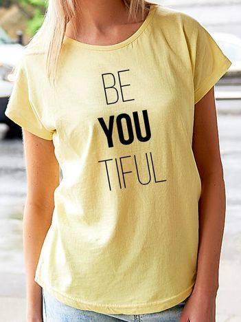 T-shirt z nadrukiem napisu żółty