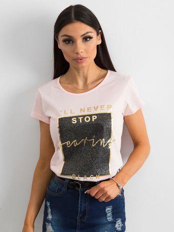 T-shirt z nadrukiem różowy