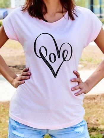 T-shirt z nadrukiem serca jasnoróżowy