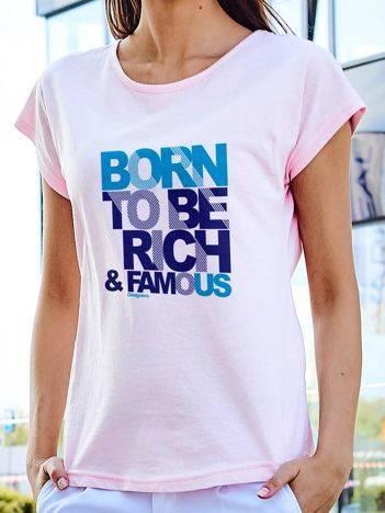 T-shirt z nadrukiem zabawnego tekstu jasnoróżowy