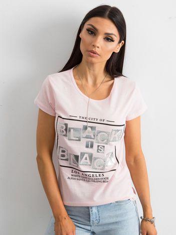 T-shirt z napisami różowy