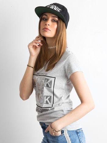 T-shirt z napisami szary
